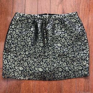 J. Crew Collection Black & Gold Floral Mini Skirt